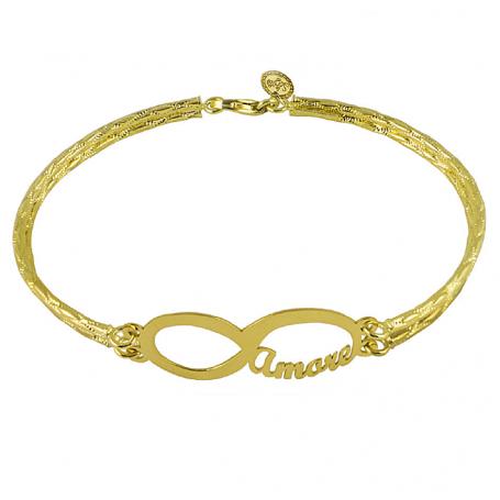 Le Scritte - Bracciale Infinito Amore, in argento o oro, personalizzabile.