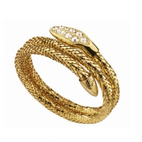 Guess - Bracciale gold a serpente doppio giro, testa con cristalli. UBB81338