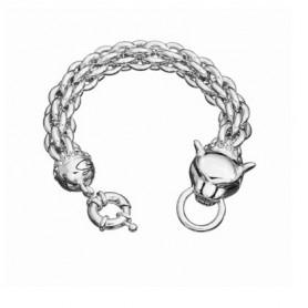 Guess - Bracciale silver a pantera multicatena con testa con cristalli, cm 18-20. UBB81339-L