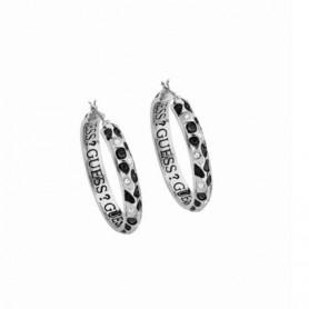 Guess - Orecchini silver, smalto nero e bianco effetto pitonato con cristalli. UBE91311