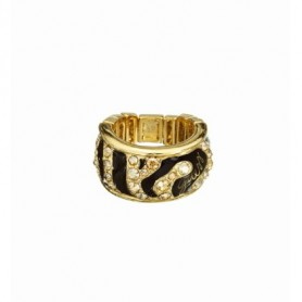 Guess - Anello gold, smalto nero effetto animalier con cristalli. UBR71202-S