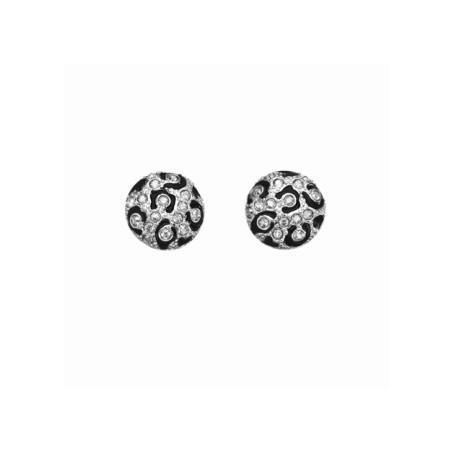 Guess - Orecchini silver con smalti neri effetto animalier e cristalli. UBE81326