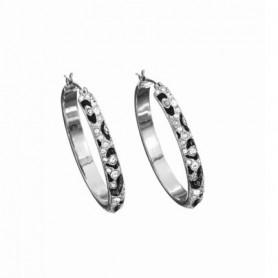 Guess - Orecchini silver con smalti neri effetto animalier e cristalli. UBE71203