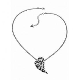 Guess - Collana silver con smalti neri effetto animalier e cristalli. UBN71299