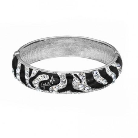 Guess - Bracciale silver con smalti neri effetto animalier e cristalli. UBB71208