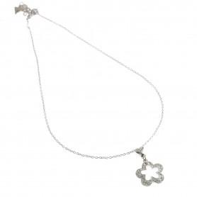 Guess - Collana silver con fiore con strass e cuore piccolo. UBN11224