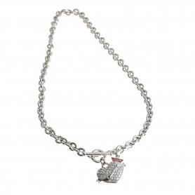 Guess - Collana silver con cuore con strass. UBN11150.B