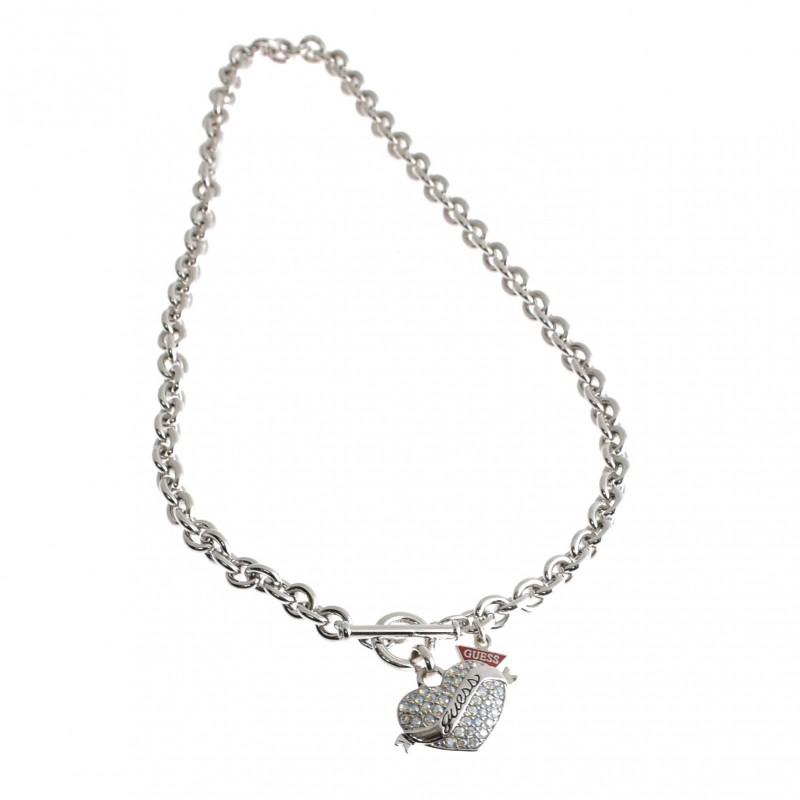 Guess Collana silver con cuore con strass. UBN11150.B
