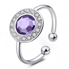 S'Agapò - Luna, anello acciaio 316L con cristalli. SLU32
