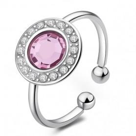 S'Agapò - Luna, anello acciaio 316L con cristalli. SLU33