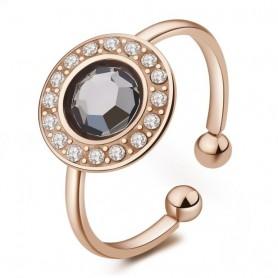 S'Agapò - Luna, anello acciaio 316L con pvd oro rosa con cristalli. SLU34