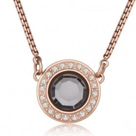 S'Agapò - Luna, collana acciaio 316L con pvd oro rosa con cristalli. SLU04