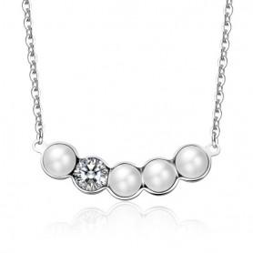 S'Agapò - Marilyn, collana acciaio 316L con perle e cristalli bianchi. SMY01