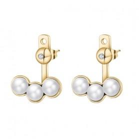 S'Agapò - Marilyn, orecchini acciaio 316L con pvd oro, cristalli e perle. SMY22