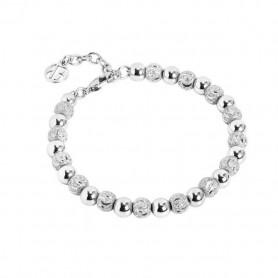 Boccadamo -    Bracciale rodiato con perle lisce e diamantate. XBR558