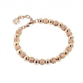 Boccadamo -    Bracciale rosato con perle lisce e diamantate. XBR558RS