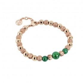 Boccadamo - Bracciale con perle di agata verde. XBR562RS