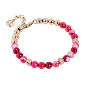 Boccadamo - Bracciale con perle di agata fucsia. XBR591RS