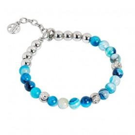 Boccadamo - Bracciale con perle di agata mix blu. XBR592