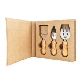 Melograno - Wood set 3 pezzi forchetta-coltello-paletta. 1095001