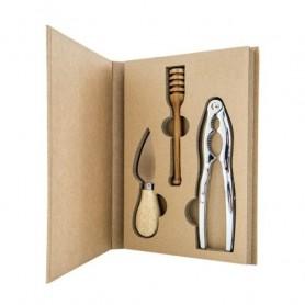 Melograno - Wood set 3 pezzi formaggio coltello-miele-schiaccianoci. 1095008