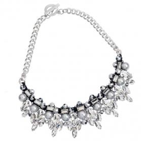 Ottaviani - Collana con perle di vetro, cristalli e strass.