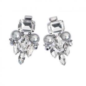 Ottaviani - Orecchini con perle di vetro, cristalli e strass.