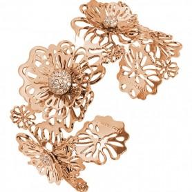 Boccadamo - Bracciale rigido rosato con rose selvatiche tridimensionali e zirconi