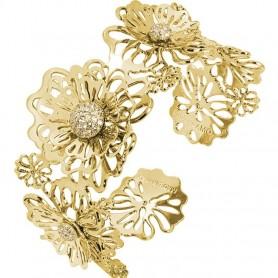 Boccadamo - Bracciale rigido dorato con rose selvatiche tridimensionali e zirconi