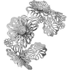 Boccadamo - Bracciale rigido con rose selvatiche tridimensionali e zirconi