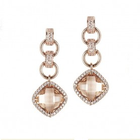 Boccadamo -  Orecchini con cristallo peach pendente e zirconi