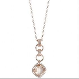 Boccadamo -  Collana con pendente di cristallo briolette peach e zirconi