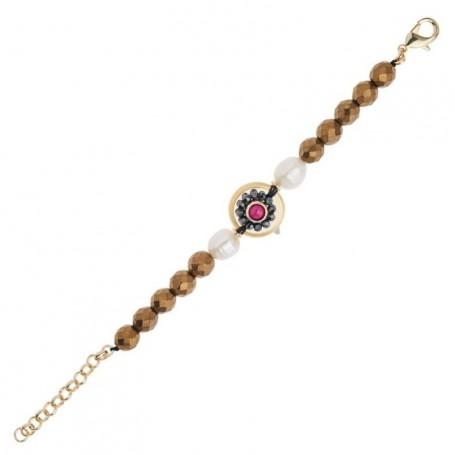 Ottaviani - Bracciale con perle,giada,cristalli e strass. 500434B