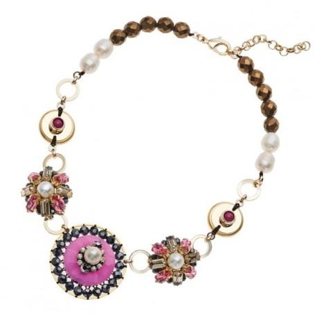 Ottaviani - Collana con perle,giada,cristalli e strass. 500434C