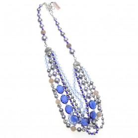 Ottaviani - Collana con perle, quarzi e cristalli blu. 370400C
