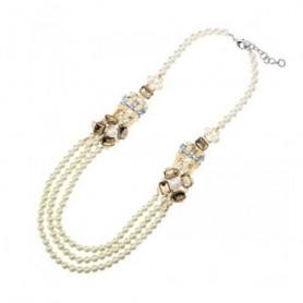 Ottaviani - Collana con perle bianche, cristalli e strass.