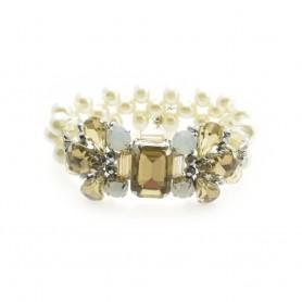 Ottaviani - Bracciale con perle bianche, cristalli e strass.