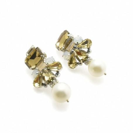 Ottaviani - Orecchini con perle bianche, cristalli e strass.