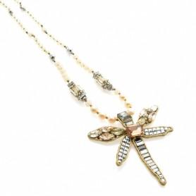 Ottaviani - Collana con perle, cristalli e strass.
