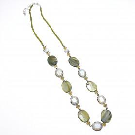Arteregalo - Collana pietre ovali verde.