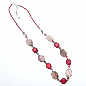 Arteregalo - Collana pietre ovali rossa.