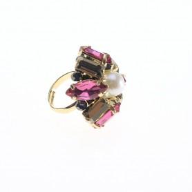 Ottaviani - Anello con perla, cristalli e quarzi regolabile. 500434A