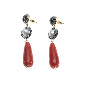 Arteregalo - Orecchini con perla e pendente colorato. FER270601
