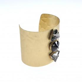 Arteregalo - Bracciale rigido oro satinato pietre centrali. FER266506