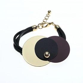 Arteregalo - Bracciale bicolore cuoio e metallo dorato. FER269932