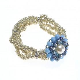 Moesi - Bracciale con perle, cristalli e murrine. Soave.
