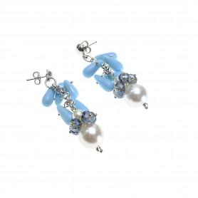 Moesi - Orecchini con perle, cristalli e murrine. Soave.