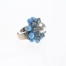 Moesi - Anello con perle, cristalli e murrine. Soave.