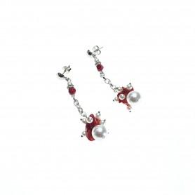 Moesi - Orecchini con perle e murrine rosse. Salemi.