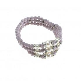 Moesi - Bracciale con perle e murrine glicine. Salemi